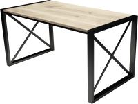 Обеденный стол Buro7 Лофт Классика 150x60x75 (дуб беленый/черный) -