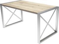 Обеденный стол Buro7 Лофт Классика 150x60x75 (дуб беленый/серебристый) -