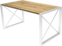 Обеденный стол Buro7 Лофт Классика 150x60x75 (дуб натуральный/белый) -