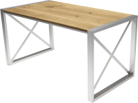 Обеденный стол Buro7 Лофт Классика 150x60x75 (дуб натуральный/серебристый) -