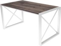 Обеденный стол Buro7 Лофт Классика 150x60x75 (дуб мореный/белый) -