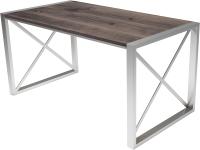 Обеденный стол Buro7 Лофт Классика 150x60x75 (дуб мореный/серебристый) -