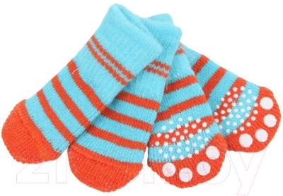 Носочки для животных Puppia Nitty-Gritty / PAND-SO1176-AQ-L (голубые с красными полосками)