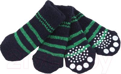 Носочки для животных Puppia Nitty-Gritty / PAND-SO1176-NY-M (синие с зелеными полосками)
