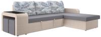 Комплект мягкой мебели Комфорт-S Феликс 2к с двумя банкетками (Lounge 14/Season Light Grey/фэшн тропикал 80) -