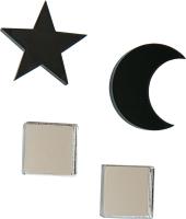 Комплект сережек Bublik Квадраты и луна, звезда 2 пары (черный/серебристый) -
