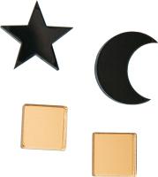 Комплект сережек Bublik Луна, звезда и квадраты 2 пары (черный/золото) -