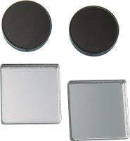 Комплект сережек Bublik Круги и квадраты 2 пары (черный/серебристый) -