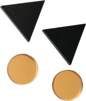 Комплект сережек Bublik Треугольники и круги 2 пары (черный/золото) -