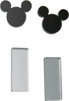 Комплект сережек Bublik Мики и прямоугольники 2 пары  (черный/серебристый) -