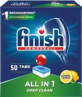 Таблетки для посудомоечных машин Finish Powerball All in One Deep Clean Лимон (50шт) -