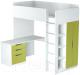 Кровать-чердак Polini Kids Simple с письменным столом и шкафом (белый/зеленый) -