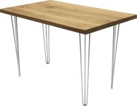 Обеденный стол Buro7 Грасхопер Классика 110x80x75 (дуб натуральный/серебристый) -