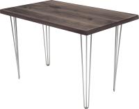Обеденный стол Buro7 Грасхопер Классика 110x80x75 (дуб мореный/серебристый) -