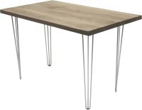 Обеденный стол Buro7 Грасхопер Классика 120x80x75 (дуб беленый/серебристый) -