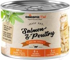 Корм для кошек Chicopee Adult желе с лососем и домашней птицей с овощами / H5082 (195г)