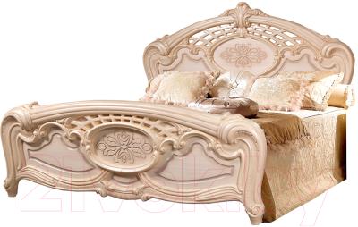 Двуспальная кровать Мебель-КМК Розалия 0456.1 (дуб молочный)