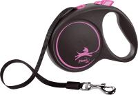 Поводок-рулетка Flexi Black Design ремень / 12376 (L, розовый) -