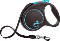 Поводок-рулетка Flexi Black Design ремень / 12372 (L, синий) -