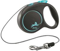 Поводок-рулетка Flexi Black Design трос / 12262 (M, синий) -