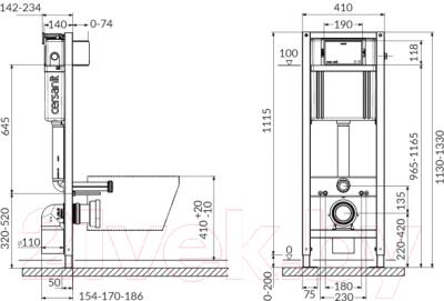 Унитаз подвесной с инсталляцией Cersanit City S-MZ-CITY-COn-S-DL-w + P-IN-MZ-AQ40-QF + P-BU-ENT/Cm