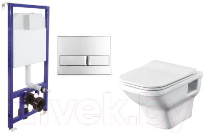 Унитаз подвесной с инсталляцией Santek Лайн 1WH501574 + L3 040213