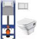 Унитаз подвесной с инсталляцией Santek Лайн 1WH501574 + P-IN-MZ-AQ40-QF + P-BU-ENT/Cm -
