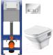 Унитаз подвесной с инсталляцией Santek Лайн 1WH501574 + P-IN-MZ-AQ40-QF + P-BU-MOV/Cg -