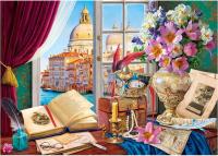 Пазл РЫЖИЙ КОТ Натюрморт с видом на Венецию / ХТП1000-4148 (1000эл) -