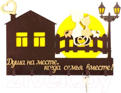Ключница настенная Woody Большой дом с котятами / 05186