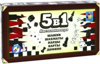 Набор игр 1Toy 5-в-1 Шашки, шахматы, нарды, карты, домино / Т12060 -