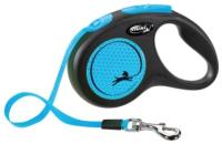 Поводок-рулетка Flexi New Neon ремень / 209322 (М, неоново-синий) -