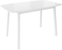 Обеденный стол Listvig Лион со стеклом 120 раздвижной (белый/белый) -