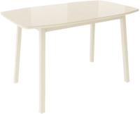 Обеденный стол Listvig Лион со стеклом 120 раздвижной (кремовый/кремовый) -