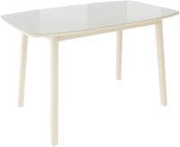 Обеденный стол Listvig Лион со стеклом 120 раздвижной (латте/кремовый) -
