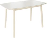 Обеденный стол Listvig Лион со стеклом 120 раздвижной (латте/кремовый/матовое стекло) -