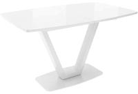 Обеденный стол Listvig Лотус со стеклом 140 раздвижной (белый/белый) -