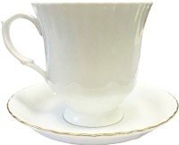 Чашка с блюдцем Cmielow i Chodziez Iwona / B164-8202I07 (золотая обводка) -