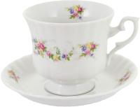 Чашка с блюдцем Cmielow i Chodziez Iwona / G742-8202I06 (праздничный букет) -