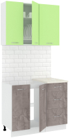 Готовая кухня Кортекс-мебель Корнелия Лира 1.0м (зеленый/оникс/королевский опал) -