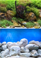 Декорация для аквариума Barbus Водный сад. Яркие камни / Background 016 -