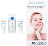 Набор косметики для лица Bioderma Hydrabio Мицеллярная вода+сыворотка+гель-крем  (10мл+5мл+5мл) -