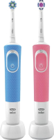 Набор электрических зубных щеток Braun Oral-B Vitality Pro 3D WH D100.413.1+Pro CrossAction D100.413.1 -
