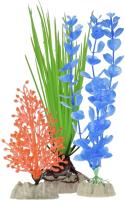 Набор декораций для аквариума GloFish Растение / 29286 (S оранжевый, M зеленый, L синий) -