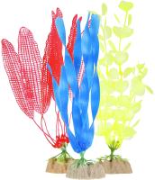 Набор декораций для аквариума GloFish Растение / 29287 (S желтый, L оранжевый, L синий) -