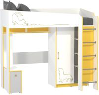 Кровать-чердак Mobi Альфа 11.20 (солнечный свет/темно-серый/белый премиум/стальной серый) -