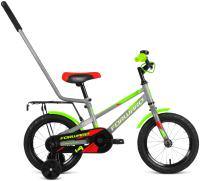 Детский велосипед с ручкой Forward Meteor 14 2021 / 1BKW1K1B1010 (серый/зеленый) -