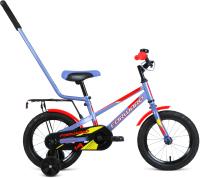 Детский велосипед с ручкой Forward Meteor 14 2021 / 1BKW1K1B1025 (серый/красный) -