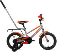 Детский велосипед с ручкой Forward Meteor 14 2021 / 1BKW1K1B1024 (серый/оранжевый) -