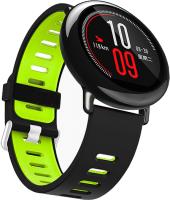 Ремешок для умных часов Miru DSJ-05 4077 (силиконовый, черный/зеленый) -